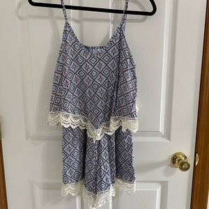 Blue/pink romper with lace trim